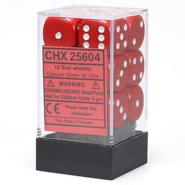 Dobbelstenen D6 (16mm) Opaque Red/White