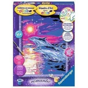 Schilderen op nummer: Dolfijnen bij Zonsondergang