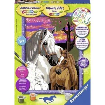 Schilderen op nummer: Paarden bij Zonsondergang