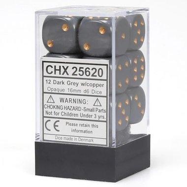 Dobbelstenen D6 (16mm) Opaque Dark Grey/Copper