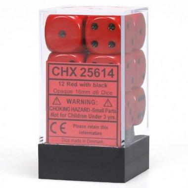Dobbelstenen D6 (16mm) Opaque Red/Black