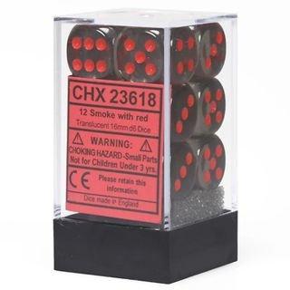 Dobbelstenen D6 (16mm) Translucent Smoke/Red (12x)