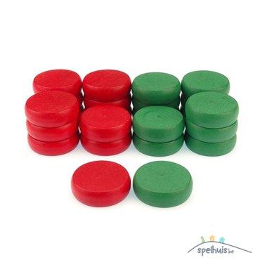 Crokinole: Extra schijven (12 x Rood & 12 x Groen)