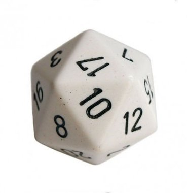 Dobbelsteen Opaque White/Black D20 (34mm)