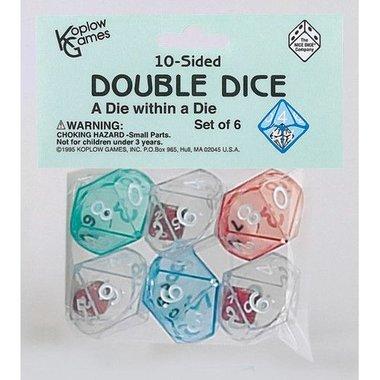 Dobbelstenen 10-Sided Double Dice (6 stuks)