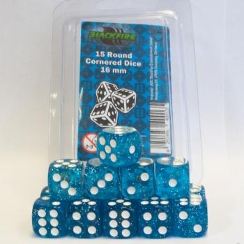 Dobbelsteen Glitter Blue/White - D6 - 16mm