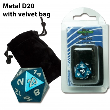 D20 Metal Die with Velvet Bag (Blue)