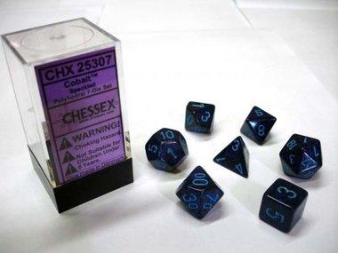 Dobbelstenen Cobalt Speckled Polydice (7 stuks)