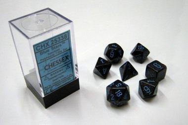 Dobbelstenen Blue Stars Speckled Polydice (7 stuks)