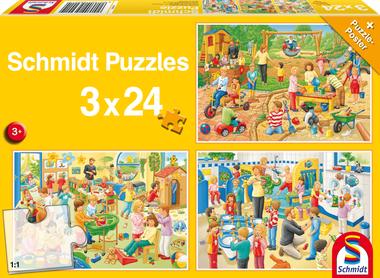 Een dag op het kinderdagverblijf - Puzzel (3x24)