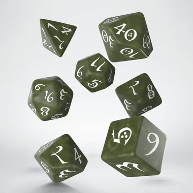Dobbelstenen Classic RPG Dice Set Olive/White (7 stuks)