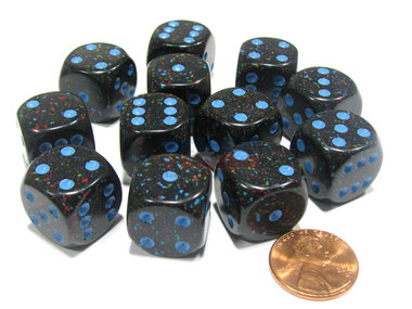 Dobbelsteen Blue Stars Speckled - D6 - 16mm