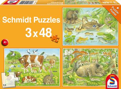 Dierenfamilie - Puzzel (3x48)