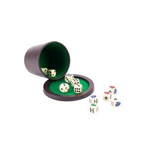 Dobbelset (Beker met deksel, 6 Dobbelstenen, 5 Pokerstenen)
