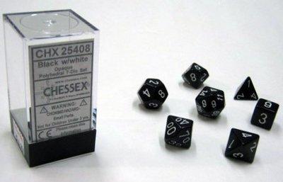Dobbelstenen Opaque Black/White Polydice (7 stuks)