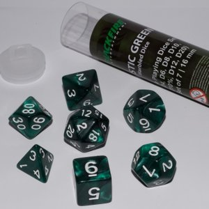 Dobbelstenen Mystic Green Polydice (7 stuks)