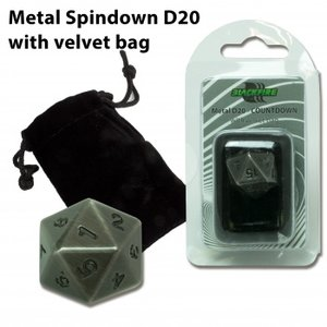 D20 Metal Spindown with Velvet Bag (Antique Silver)