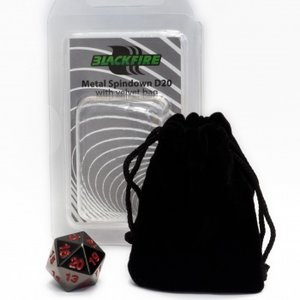 D20 Metal Spindown with Velvet Bag (Black)