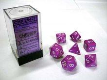 Dobbelstenen LIcht Purple/White Polydice (7 stuks)