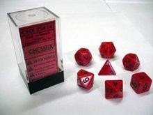 Dobbelstenen Opaque Red/Black Polydice (7 stuks)
