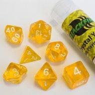 Dobbelstenen Crystal Yellow Polydice (7 stuks)