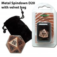 D20 Metal Spindown with Velvet Bag (Antique Copper)