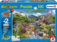 In het rijk van de Dinosauriers - Puzzel (100) [+ 2 GRATIS SCHLEICH MINIATUREN]