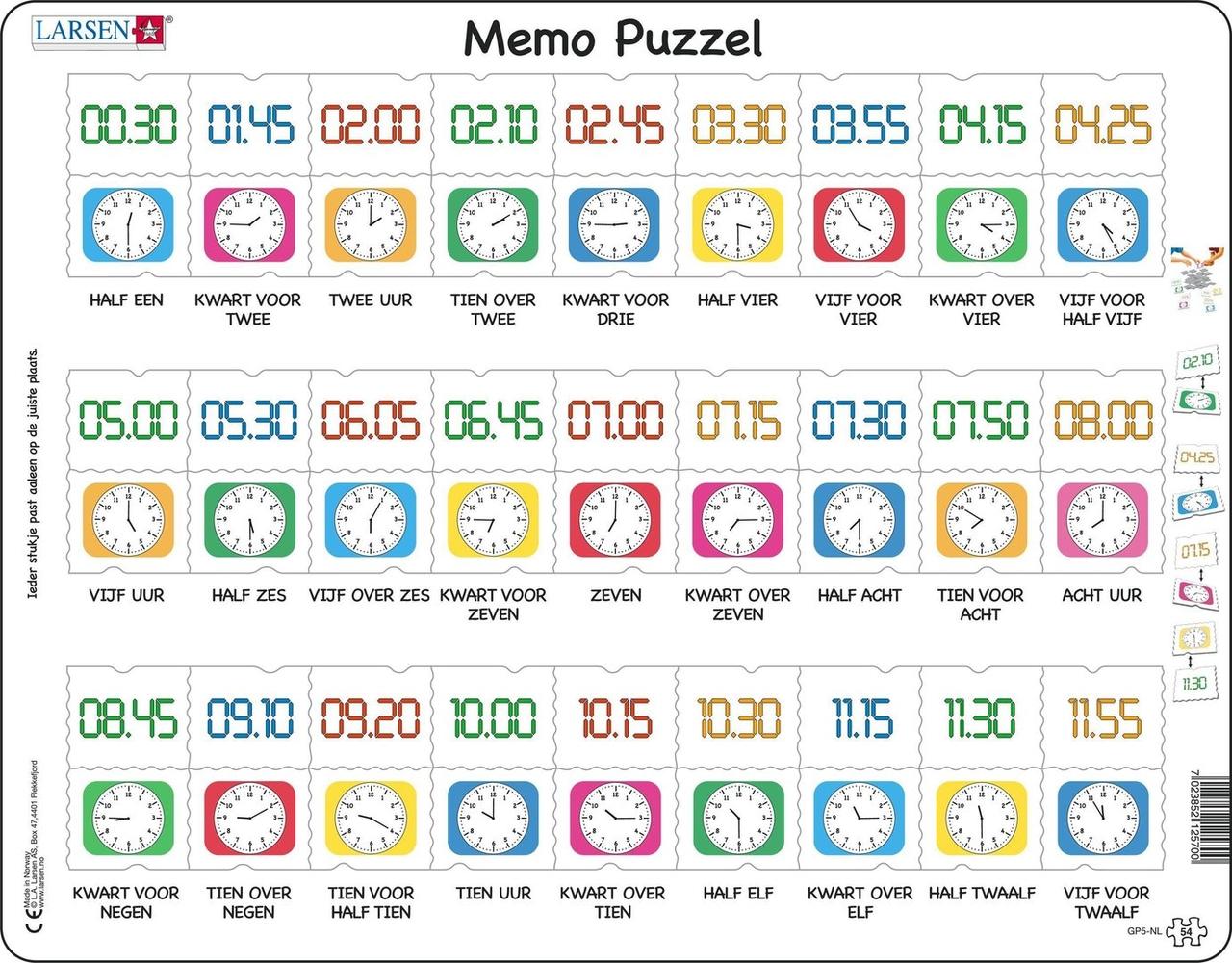 Afbeelding van het spelletje Puzzel LARSEN: Kloklezen (54)